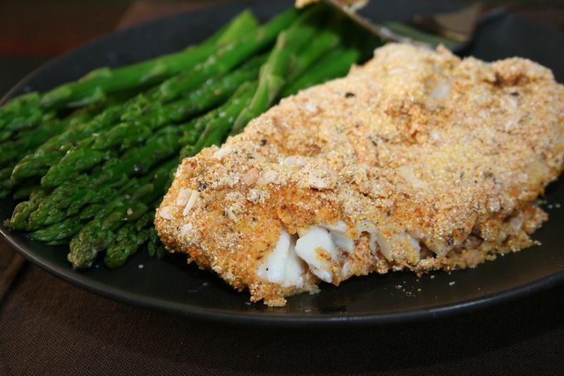 Corn-battered fish filets